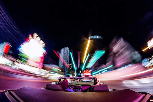 Car driving at night in Las Vegas