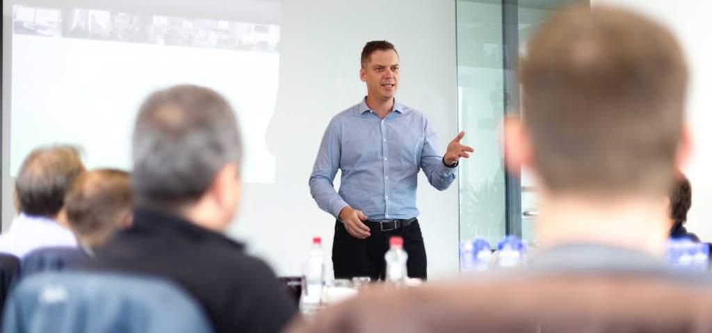Brett presenting a Boardroom Briefing.